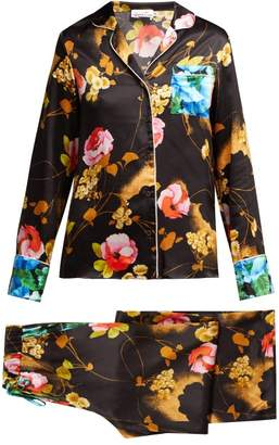 Richard Quinn - Floral Print Silk Pyjamas - Womens - Black Print