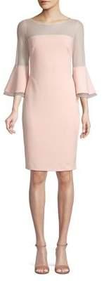 Calvin Klein Bell-Sleeve Mesh Sheath Dress