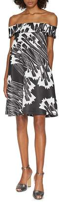 HALSTON HERITAGE Printed Off-Shoulder Dress $375 thestylecure.com