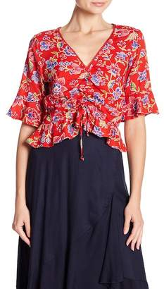Angie 3/4 Sleeve Front Tie Floral Print Blouse