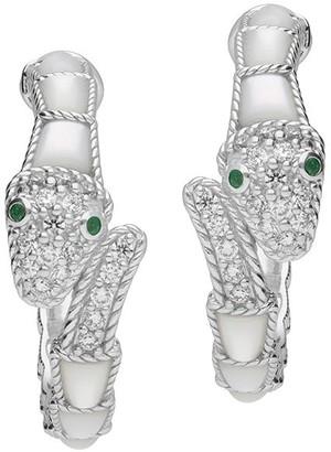 Judith Ripka Sterling Gemstone Snake Hoop Earrings