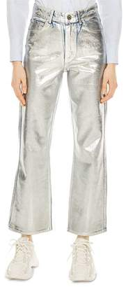 Sandro Roland High-Rise Flared Painted Jeans in Silver