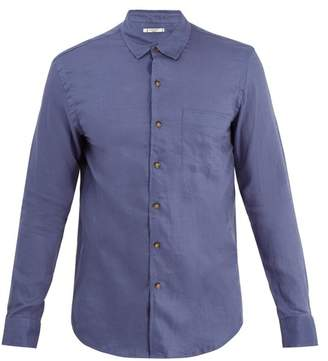 Retromarine - Point Collar Single Cuff Linen Shirt - Mens - Navy