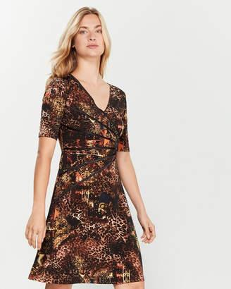 Connected Apparel Petite Printed Starburst Dress