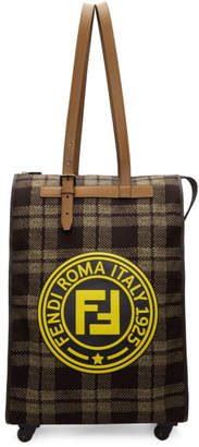 Fendi Brown and Beige Roma Italy 1925 Trolley Tote