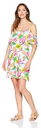 La Blanca Women's Flutter Sleeve Cover-Up Dress, White/Pink/Green/Floral Print, Extra