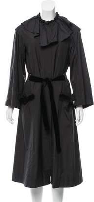 Nina Ricci Mink Fur-Trimmed Longline Coat