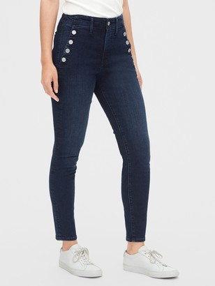 Gap High Rise True Skinny Sailor Ankle Jeans with Secret Smoothing Pockets