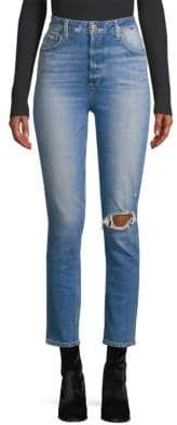 Paige Sarah High-Rise Distressed Slim Straight Jeans