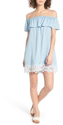 Women's Love, Fire Embroidered Chambray Off The Shoulder Dress $55 thestylecure.com