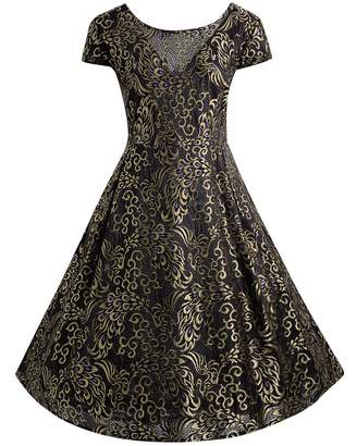 BIUBIU Womens Plus Size 1950s Vintage Cocktail Party Flare A-Line Swing Dress 5XL