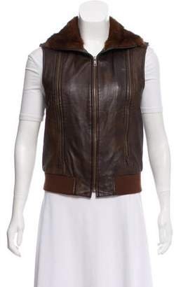 Etcetera by Edmond Chin Fur-Trimmed Leather Vest