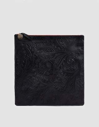 Clare Vivier Foldover Clutch in Black Tooled Floral