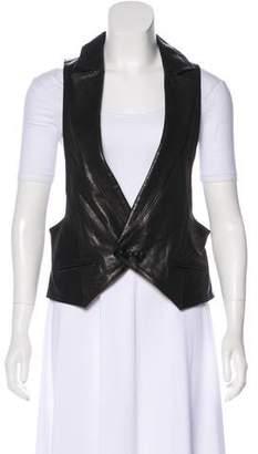 Torn By Ronny Kobo Leather Notch-Lapel Vest