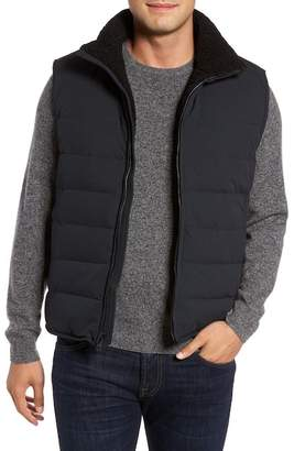 Andrew Marc Quilted Down Vest w/ Faux Shearling Lining