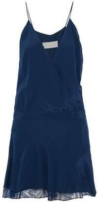Michelle Mason Lace-Trimmed Draped Silk-Blend Crepe Mini Dress