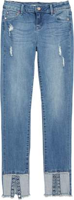 Tractr Deconstructed Eyelet Hem Skinny Jeans