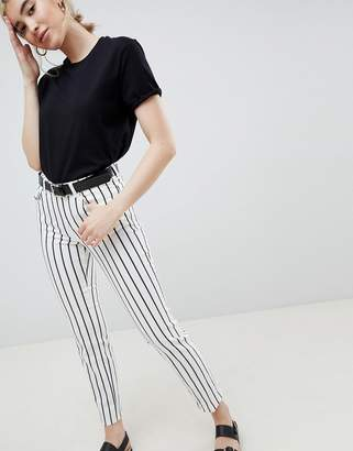 Asos Design DESIGN pencil straight leg jeans in mono stripe print