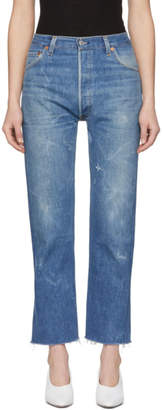 RE/DONE Indigo Levis Edition High-Rise Stovepipe Jeans
