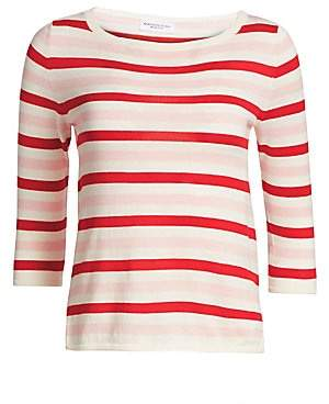 Majestic Filatures Women's Striped Cotton Cashmere Sweater
