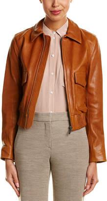 Helmut Lang Silk-Trim Tumbled Leather Jacket
