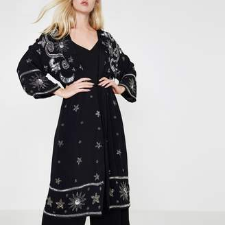 River Island Womens Black sequin embellished longline kimono