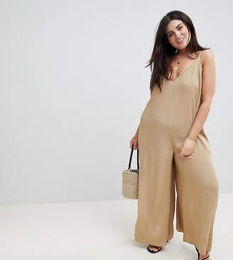 Asos Design Curve Deep V Strap Back Jumpsuit