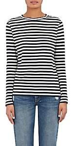 Barneys New York Women's Striped Cotton Jersey Long-Sleeve T-Shirt-Navy, Lt grey