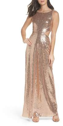 LuLu*s Cutout Sequin Gown