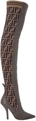 Fendi FF motif thigh-high boots