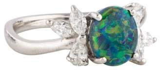 Ring Platinum Opal & Diamond