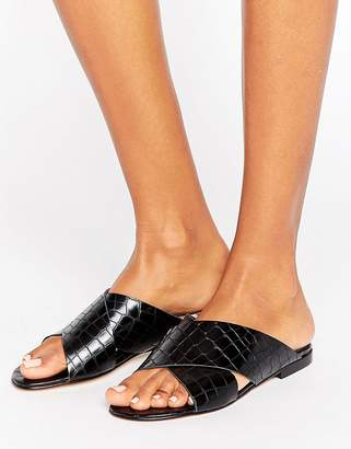 Dune London Labrinth Leather Slide Flat Sandals