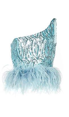16Arlington One-Shoulder Feather-Hem Cropped Sequin Top