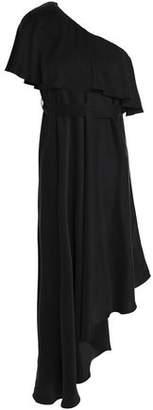 Zimmermann One-Shoulder Asymmetric Ruffled Washed-Silk Dress