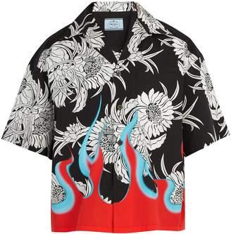 Prada Floral and flame-print cotton shirt