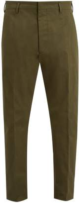 Prada Mid-rise tapered-leg stretch-cotton chino trousers