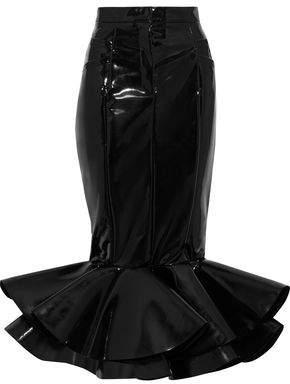 Balmain Fluted Vinyl Midi Skirt