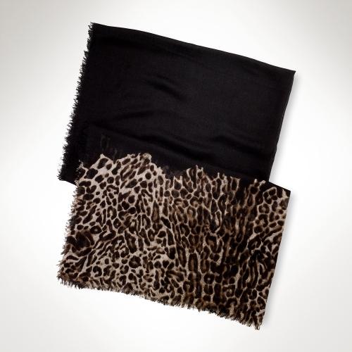 Lauren Ralph Lauren Ralph Lightweight Leopard-Trim Scarf