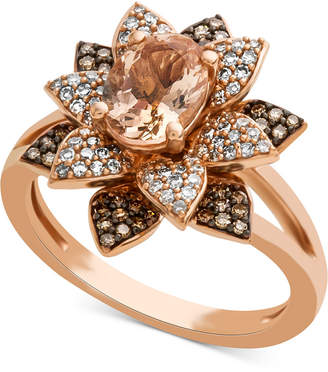 Macy's Morganite (1 ct. t.w.) & Diamond (1/2 ct. t.w.) Blossoming Flower Ring in 14k Rose Gold