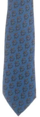 Hermes Reindeer Print Silk Tie