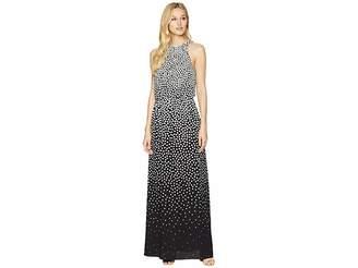 Adrianna Papell Moody Dot Maxi Halter Dress