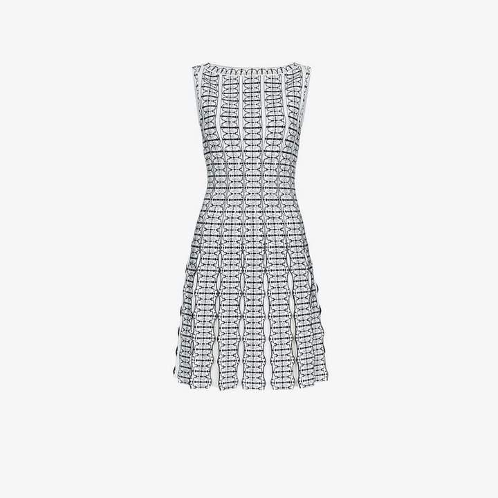 Sleeveless jacquard knit wool-blend dress