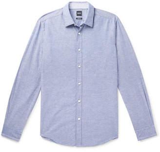HUGO BOSS Lukas Cotton and Linen-Blend Shirt - Men - Navy