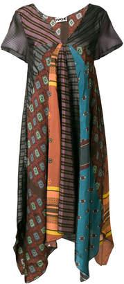 Hache patchwork printed asymmetric dress