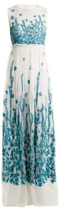 Andrew Gn Floral Embroidered Tulle Gown - Womens - Blue White