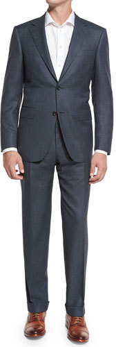 Canali Canali Nailhead Super 130s Wool Two-Piece Suit, Gray