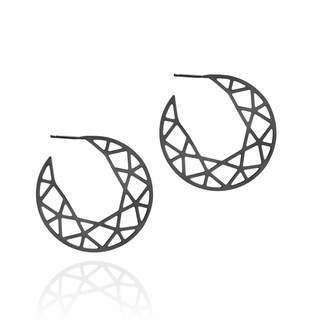 Myia Bonner Black Brilliant Diamond Hoop Earrings