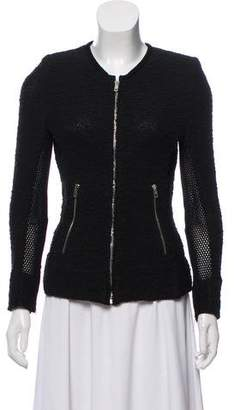 IRO Leather Trim Scoop Neck Jacket