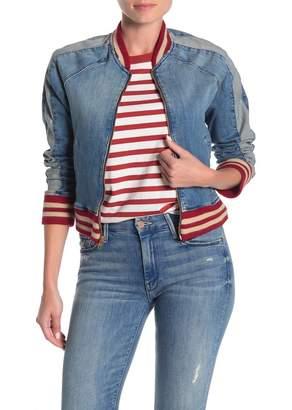 Mother Runner Letterman Stripe Denim Jacket