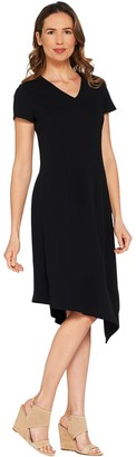 Halston H By H by Regular Crepe Knit Midi Dress w/ Asymmetric Hem